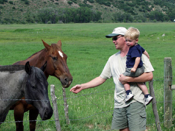 Wes and Justin with Horses at South Fork 2003