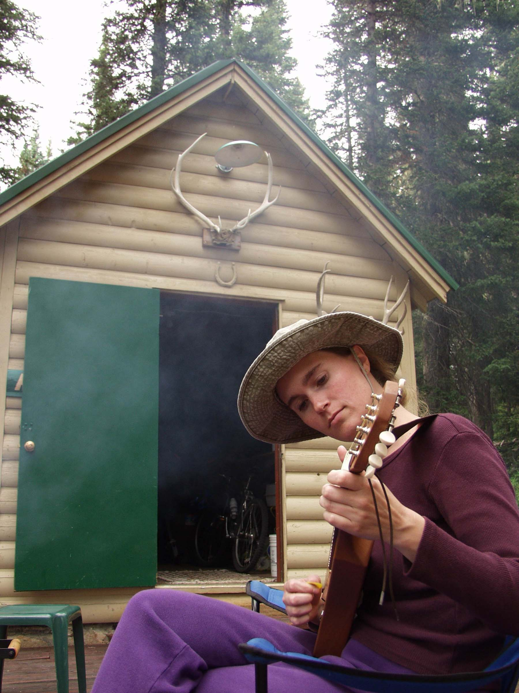 Jammin' Shana on Mandolin at Mom's Cabin (August 2001)
