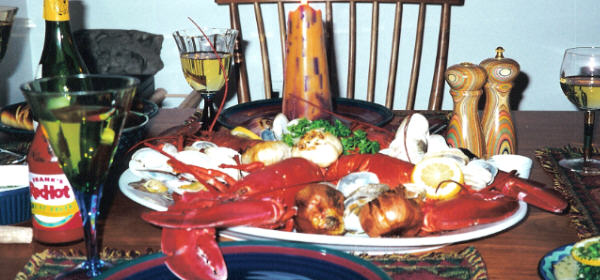 Lobster Dinner Jeff cooked on Easter 2000