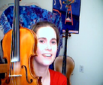 Shana with her Violin and Jeff's Cello in the background